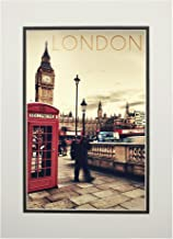 London, England - Telephone Booth and Big Ben (11x14 Double-Matted Art Print, Wall Decor Ready to Frame)
