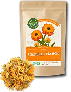 Eat Well Premium Foods - Calendula Flowers Tea 4oz , Whole Dried Calendula Flowers, Herbal Tea Marigold