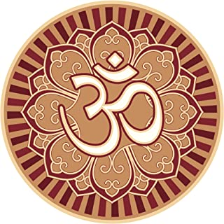 Divine Designs OM AUM Symbol in Lotus Flower Peace Serenity Yoga RED Beige White Vinyl Decal Sticker Two in One Pack (4 Inches Wide)