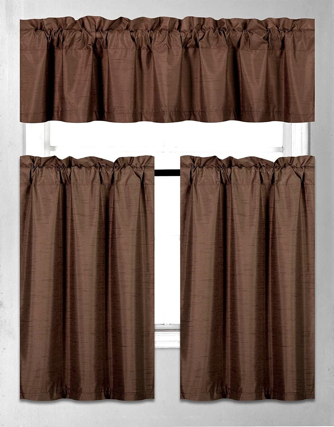 Fancy Collection 3 Pieces Faux Silk Blackout Kitchen Curtain Set Tier Curtains And Valance Set Solid Brown Chocolate Window Set Thermal Backing Drapes New Home Kitchen