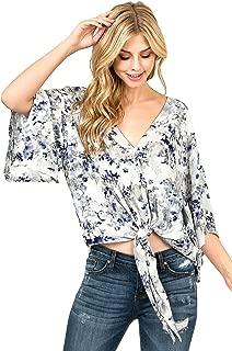 LOVE STITCH Women's Relax Fit Front-Tie Kimono Blouse