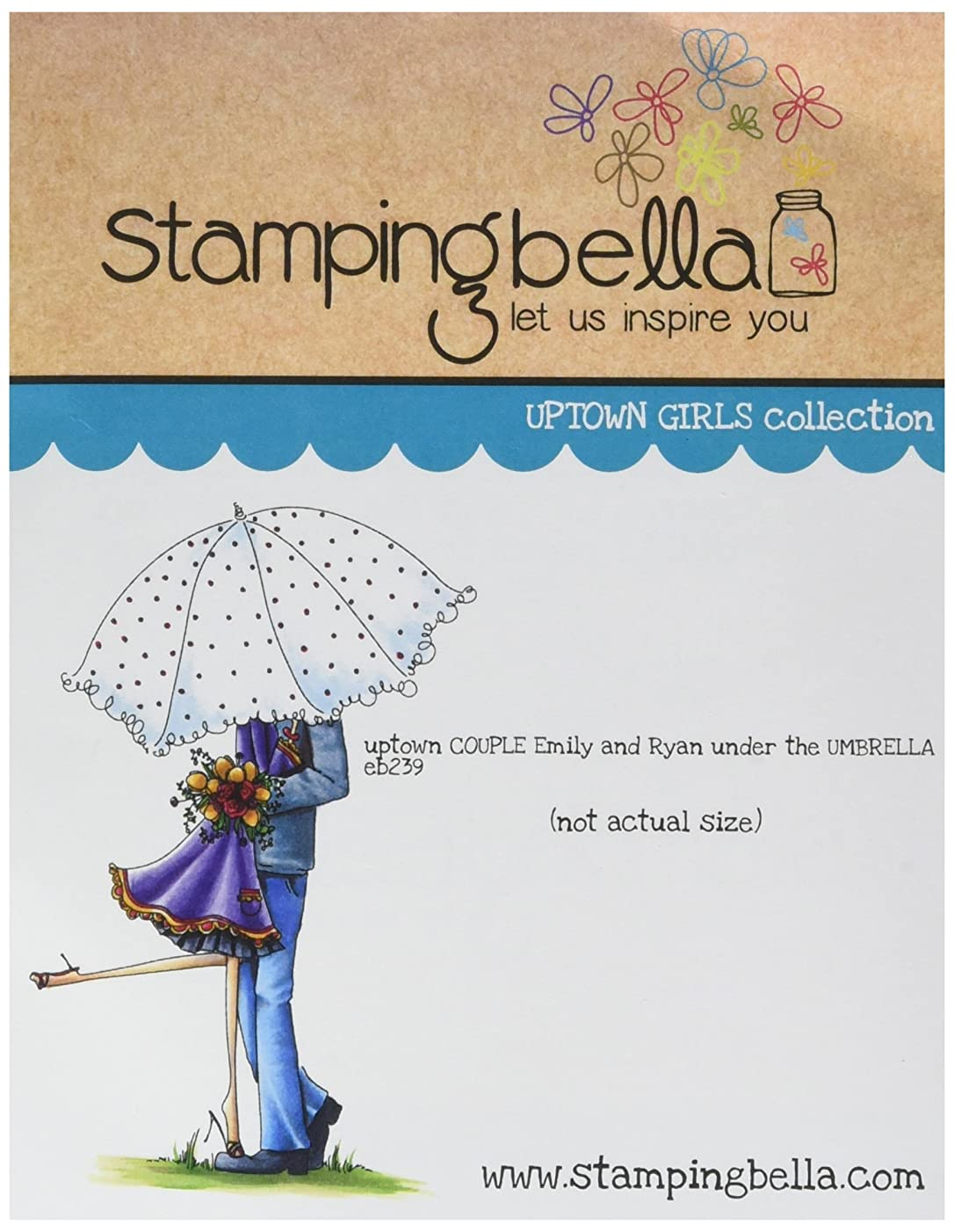 Stamping Bella Emily & Ryan Under The Umbrella Cling Rubber Stamp, 6.5 x 4.5