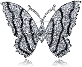 Alilang Stunning Black Clear Crystal Rhinestone Winged Butterfly Insect Brooch