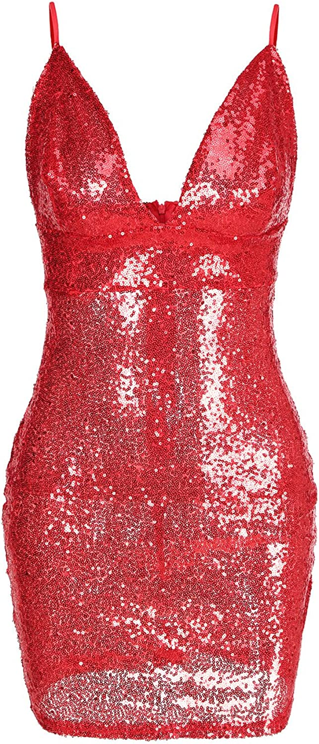 Engood Women's Sexy Deep V Neck Sequin Backless Glitter Bodycon Stretchy Nightclub Party Strap Mini Dress