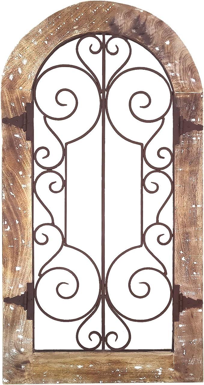 Benjara   Panel de pared con marco de madera arqueado, color marrón