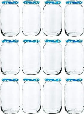 Machak Big Glass Jars For Kitchen Storage 1kg, Blue Check Lids (12 Pieces)