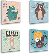 ETIUC Nursery 3D Wall Art for Boys Girls 12x12 New Born Baby Kids Room Safari Animal Sticky Paintings Wall Decor Jungle Zoo Room Dinosaur Bear Reindeer Bat Wall Sticker Blue Etiuc