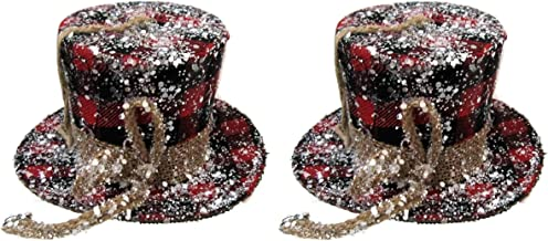 BUYERS' CHOICE of PAIR! Christmas Plaid DERBY TOPHATS in Red & Black OR White & Black (RED & BLACK)
