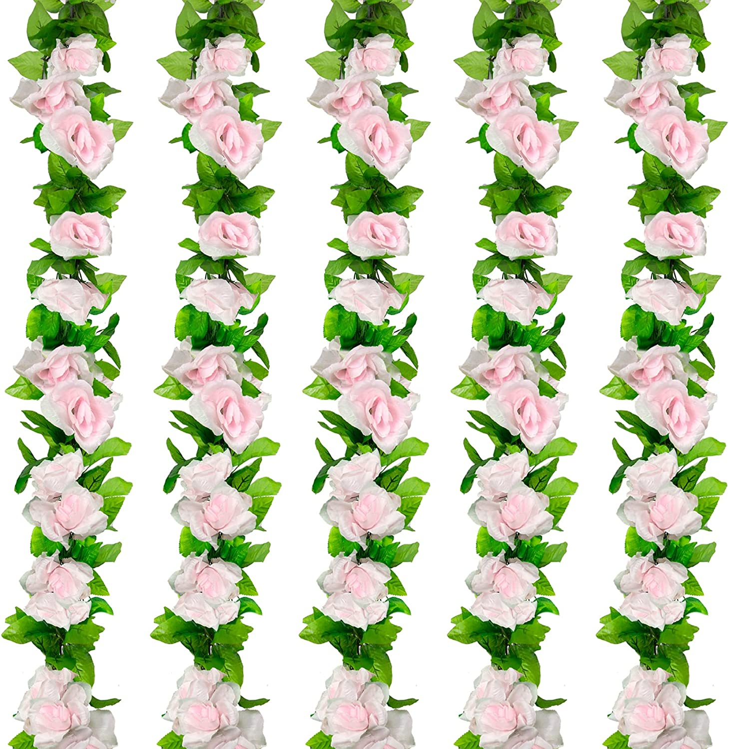 Huryfox 5 Pack Artificial Flower Vines for Indoor & Outdoor Decoration Fake Roses Rattan Ivy Hanging Floral Garland Decor for Wedding Arch/Birthday Party/Event Background Wall (Pink)