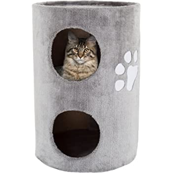 "PETMAKER Cat Condo 2 Story Double Hole with Scratching Surface, 14"" x 20.5"", Gray (80-PET5080)"