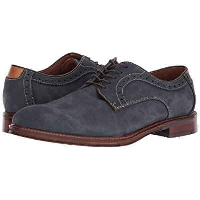 Johnston & Murphy Warner Casual Dress Plain Toe Oxford (Navy Water-Resistant Tumbled Nubuck) Men