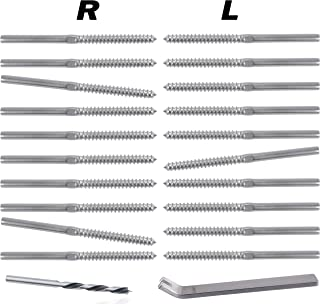 Stainless Steel Right&Left Handed Thread Swage Lag Screws for Wood Post of 1/8 inch Cable Railing Kit,Decking Railing Hardware,DIY Baluster Kit(10 Pairs)