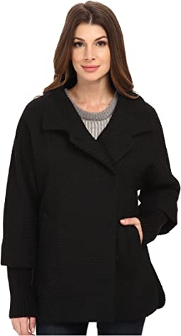 Calvin Klein Asymmetrical One Button Coat w/ Knit Sleeve