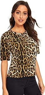 Women's Casual Round Neck Short Sleeve Leopard Print T-Shirt Tops