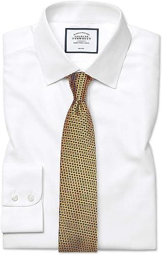 Chemise à Motif à Effet Tirets Blanche Slim Fit Sans Repassage   Blanc (Poignet Mousquetaire)   17.5   34