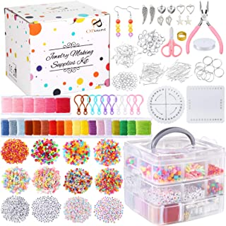 PP OPOUNT 12 Types Letter Beads Supplies Kit Alphabet Beads Kit and 24 Multi-Color Embroidery Floss with Elastic Nylon Cor...