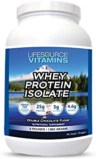LifeSource Vitamins 3 lb - US Dairy Cows Grass Fed Whey Protein Isolate - Double Chocolate Fudge sweetened w/Stevia - Free...