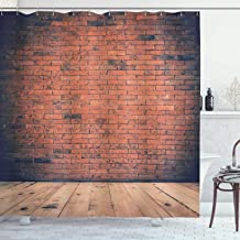 Ambesonne Vintage Decor Collection, Old Fashioned Bricks in Dark Room with Antique Wood Floor Vintage Ancient Retro Room Decor, Polyester Fabric Bathroom Shower Curtain, 84 Inches Extra Long, Red