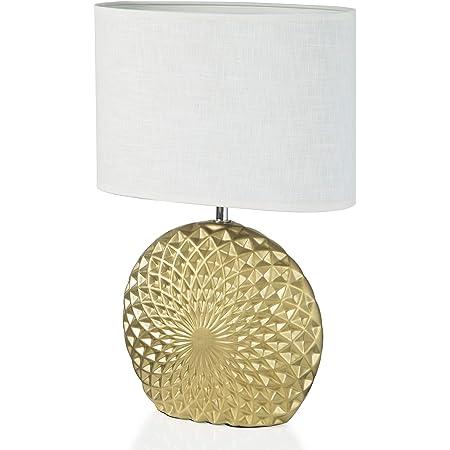 Comodino in Alluminio Oro Ф12.5x45Acm homcom Lampada da Tavolo Moderna con Luce a LED per Scrivania Lettura