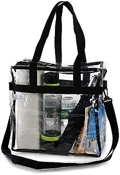Clear Tote Bag NFL Stadium Approved - Handles, Shoulder Strap, Zipper Closure.