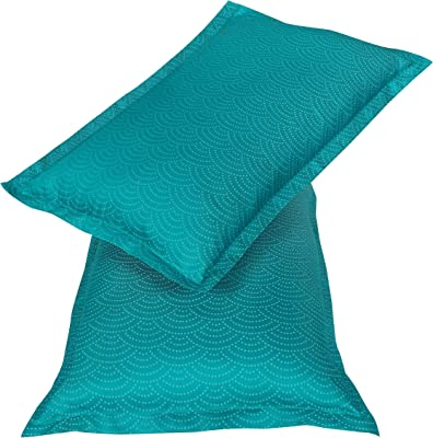 Amazon Brand - Solimo Radiant Rush 500 TC Cotton Blend Double Bedsheet with 2 Pillow Covers, Turquoise Blue