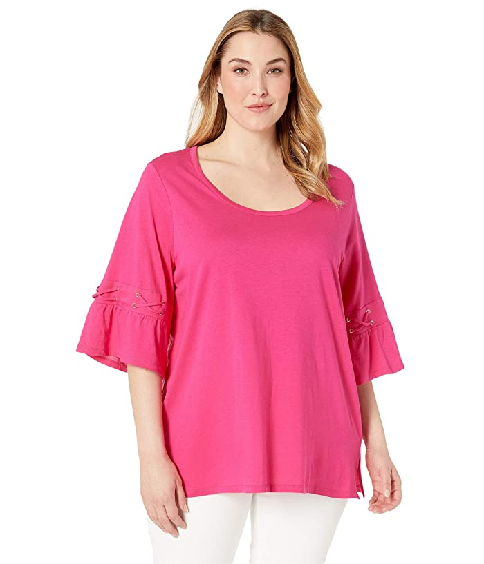 MICHAEL Michael Kors Plus Size Laced Sleeve Flare Tee (Electric Pink) Women