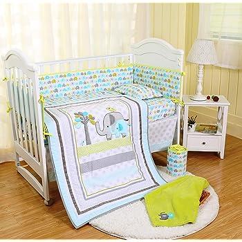 SpringBaby Crib Bedding Set 8 Piece Nursery Crib Bedding Set for Baby Boys and Girls, Including Comforter, Crib Sheet, Crib Skirt, Bumpers, Blanket (Blue/Green/Grey Elephant-8 Piece)…