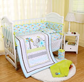 Spring Baby Elephant Crib Bedding Set 8-Piece for Baby Boys and Girls,Blue/Green/Grey, Including Bumper Pads and Blanket (Light Blue-Elephant-8 Piece)