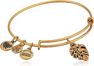Alex and Ani Women's Palm Leaf Charm Bangle Bracelet, Rafaelian Gold, Expandable