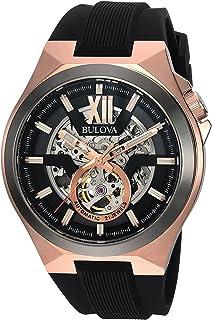 [ブローバ] Bulova 腕時計 Men's Automatic Stainless Steel and Silicone Casual Watch, Color:Black 自動巻 98A177 メンズ 【並行輸入品】