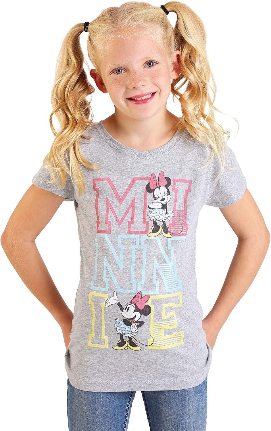 Girl's Minnie Mouse Stacked Varsity Letter T-Shirt - 4 Gray