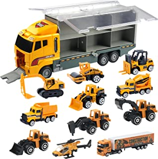 Oumoda 11 in 1 Transport Car, Die-cast Construction Truck Vehicle Car Toy Set Play Vehicles in Carrier Truck, Vehicles Toy...