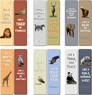 Creanoso Wild Animals Inspiring Sayings Bookmarks (30-Pack) - Stocking Stuffers Gift Ideas for Boys and Girls – Classroom Teaching Incentives