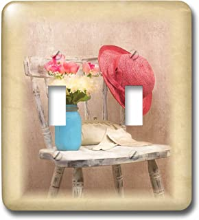 3D Rose lsp_233614_2 Image of Country Mason Jar Of Flowers With Straw Hat On Chair Double Toggle Switch