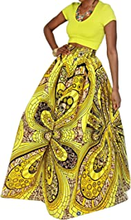 Women African Floral Print Pleated High Waist Maxi Skirt Casual A Line Skirt(Purple Geometric)