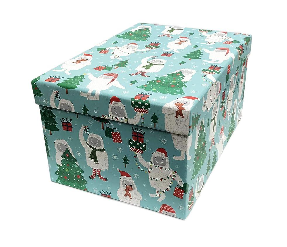 Merry Christmas Holiday Abominable Snowman Yeti Decorative Christmas Holiday Storage Gift Box 11.5