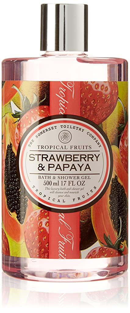シリング故意の記念日Tropical Fruits Strawberry & Papaya Bath & Shower Gel 500ml