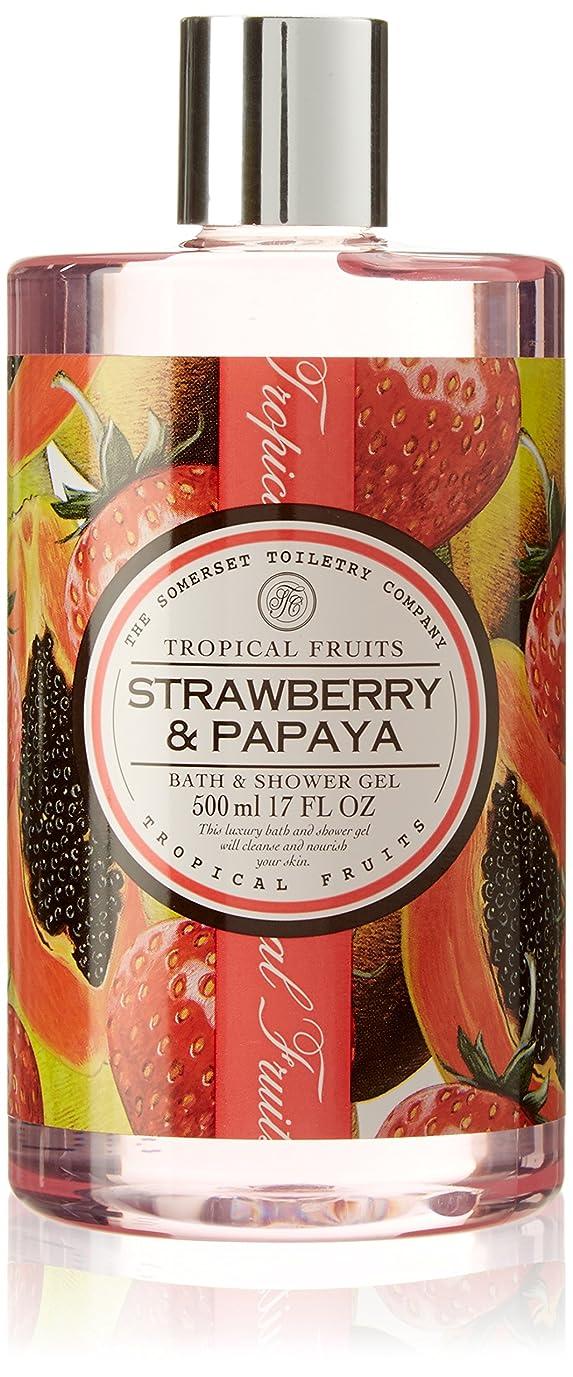 チキン褐色クラシカルTropical Fruits Strawberry & Papaya Bath & Shower Gel 500ml