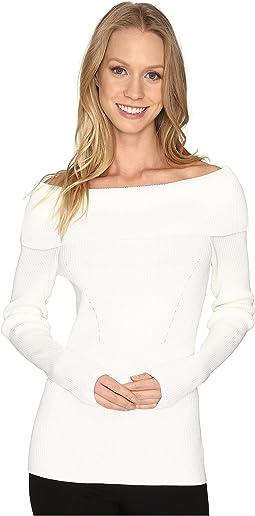 Open Cowl Rib Sweater