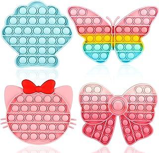 اسباب بازی ASONA Push Bubble Fidget، Pop Stress Reliever سیلیکون پوپر اسباب بازی حسی ضد اضطراب کودکان و نوجوانان ست هدیه روز کودک برای کودکان نوپا کودک اوتیسم نیازهای ویژه (پوسته / پروانه / بچه گربه / Bowknot 4 بسته)