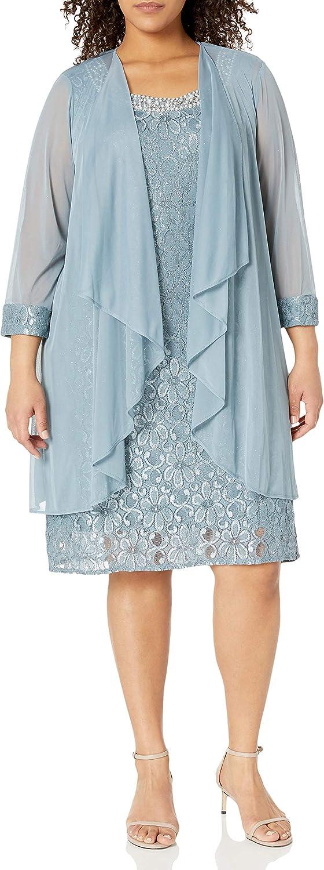 R&M Richards Women's Plus Size Missy 2 PCE Flyaway Jacket Over Shift Dress