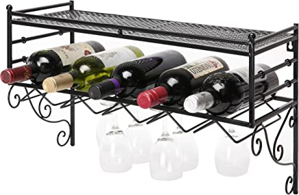 MyGift Wall-Mounted Scrollwork Design Wine Bottle and Stemware Rack with Top Storage Shelf