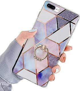 Compatible con iPhone 7 Plus / 8 Plus Funda Mármol Patrón Geométrico Silicona Carcasa,Brillante Glitter Chapado Funda Ultra Fina Suave TPU Silicona Funda Antigolpes Case con Stand Anillo,Púrpura