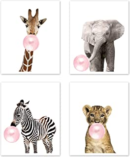 Sweet Jojo Designs Safari Jungle Animal Wall Art Prints Room Decor for Baby, Nursery, and Kids - Set of 4 - Elephant Giraffe Lion Zebra Pink Bubble Gum