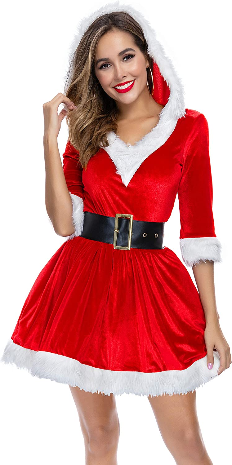 Mrs Santa Claus Christmas Fancy Dress Xmas Ladies Women Cosplay Costumes Outfit