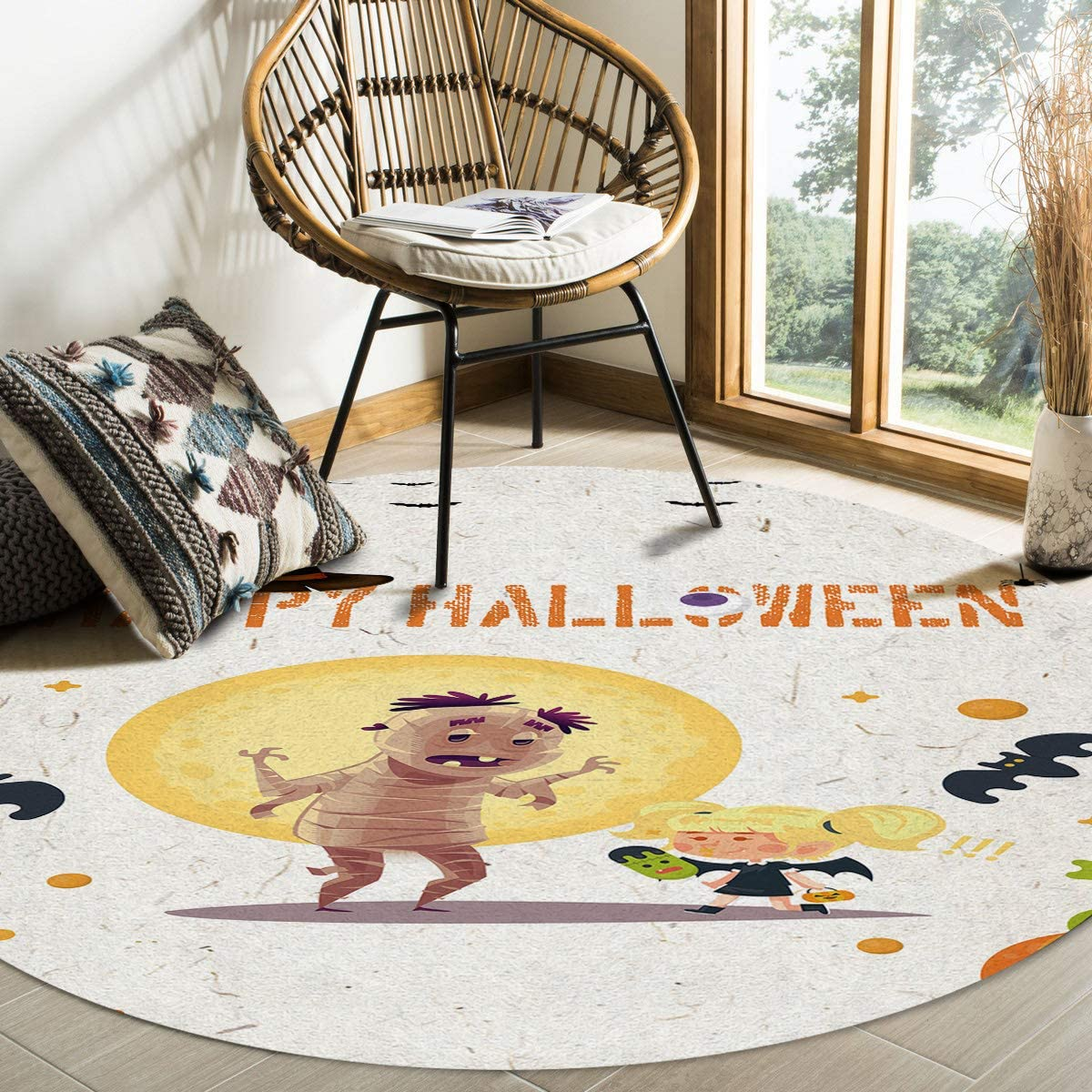 Modern Ranking TOP18 Round Area Rug Fees free 4 Feet Non-Shedding Low-Profi Bedroom for