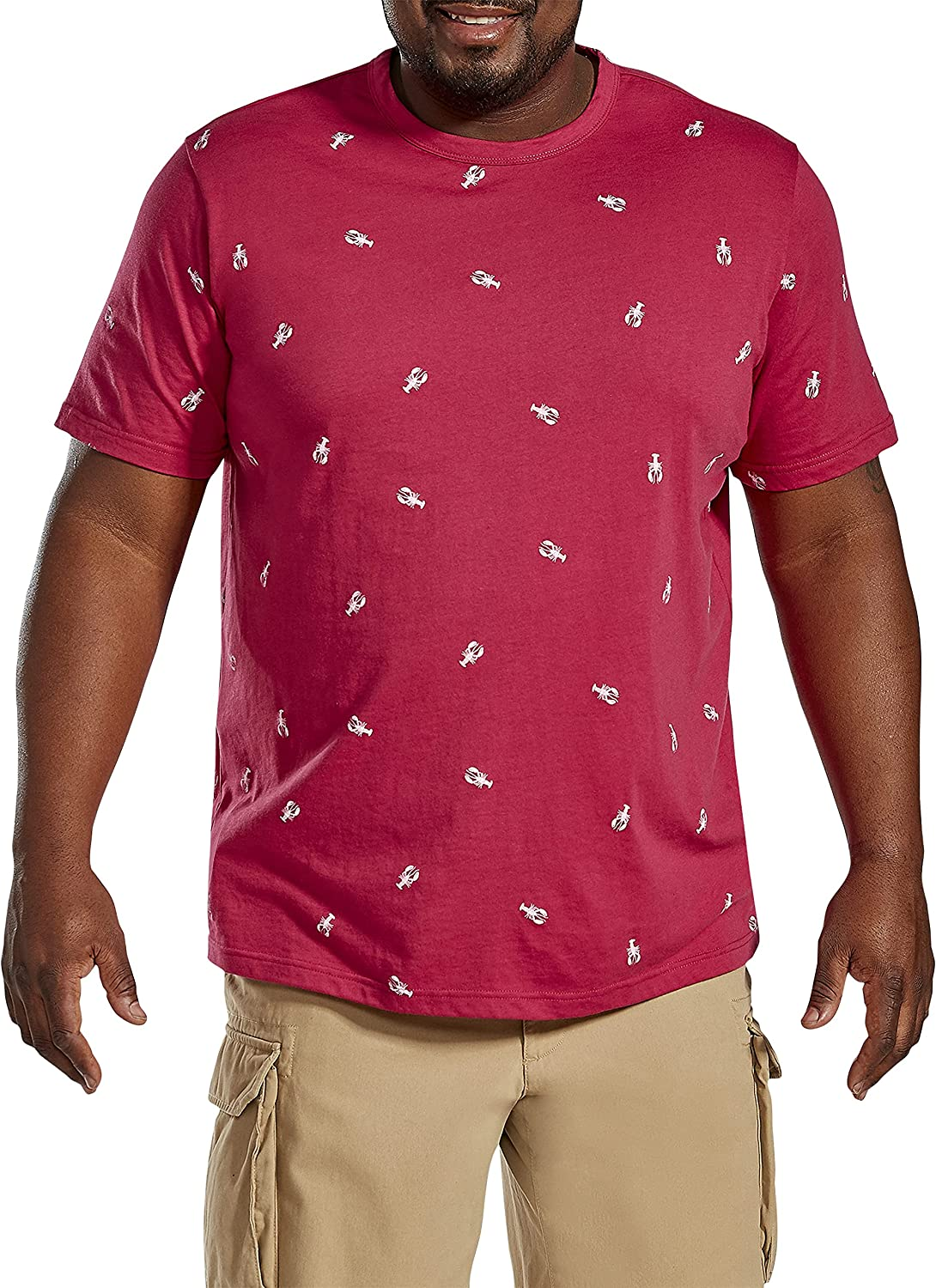 Harbor Bay by DXL Big and Tall Lobster Print Tee, Red Multi
