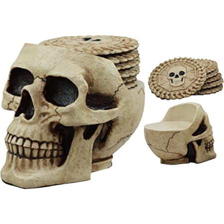 Amazon Com Ebros Day Of The Dead Ossuary Skull Cranium Coaster Set Statue Holder With 6 Skeleton Bone Coasters Made Of Resin Home Kitchen