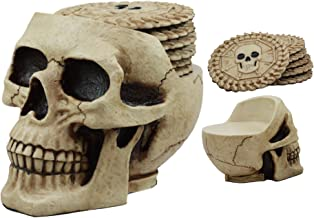 Ebros Day of The Dead Ossuary Skull Cranium Coaster Set Statue Holder with 6 Skeleton Bone Coasters Made of Resin