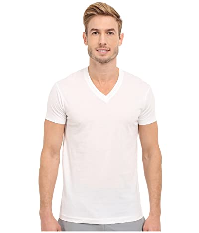2(X)IST Pima Cotton Short Sleeve V-Neck (White) Men